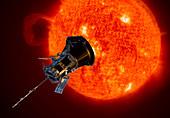Parker Solar Probe approaching the Sun, illustration