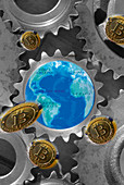 Blockchain financial system, conceptual image
