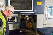 Cutting steel at metalworks, Scotland, UK