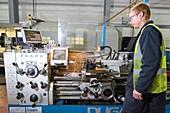 Metalworks lathe, Scotland, UK