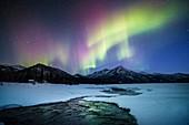Aurora over an Alaskan river