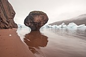 Mushroom pillar of Permian red sediments, Greenland