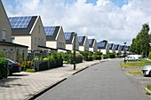 Houses with rooftop solar panels
