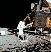 Apollo 12 astronaut changing fuel, 1969