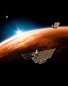 MarCO CubeSats at Mars, illustration