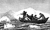 19th Century seal hunters, illustration