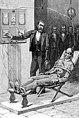 19th Century execution by electrocution, illustration