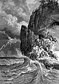 Prehistoric humans during storm, 19th Century illustration