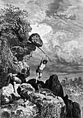 Prehistoric tool use, 19th Century illustration