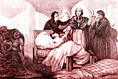 19th Century cholera victim, illustration