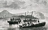 La Perouse shipwreck, French explorer, illustration