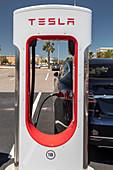 Electric car charging station, Florida, USA