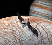 Europa at Jupiter's moon Europa, illustration