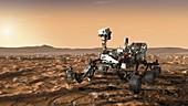 Mars 2020 rover on Mars, illustration