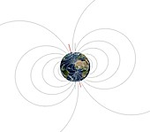 Earth's magnetic field and axes, illustration