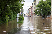 Flooded street, Gera, Germany, 2016