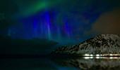 Northern lights, Skagsanden beach, Lofoten Islands, Norway