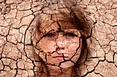 Dry cracked earth and girl's face