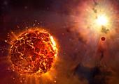 Supernova destroying planet, illustration