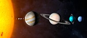 Solar system planets, illustratoin