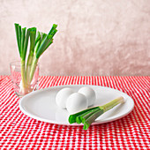 Boiled eggs and spring onions