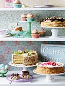 Vintage cakes and pastries for an Easter buffet