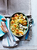 Fish pie with potatoes and herbs