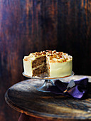 Passion fruit sponge cake with walnuts