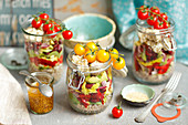 Layered salad in a jar - buckwheat, bean, avo, vegs, quark or feta