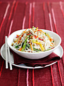 Rice noodle salad with chicken and coconut (Asia)