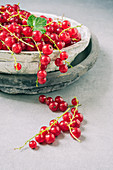 Redcurrants in a stone bowl