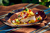 Swordfish with pineapple salsa