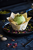 Pistachio ice cream in a filo pastry nest
