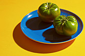 Two green tomatoes on a blue plate