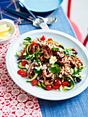 Greek-style barbecused octopus with fetta and pickled cucumber