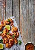 Coconut prawns with peanut butter dipping sauce