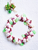 Raspberry meringue Christmas wreath