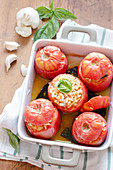 Roasted tomatoes filled with rice