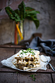 Vegan chard waffles with coconut hummus and fresh thyme