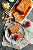 Banana bread with jam