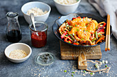 Sweet and sour fish (cod) with vegetables (Asia)