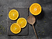 Oranges on slate