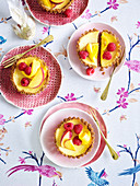 Little lemon curd cheesecakes
