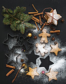 Christmas holiday traditional gingerbread cookies with sugar powder and cinnamon