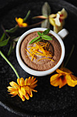 Mousse au chocolate with orange zest