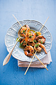 Grilled Caribbean prawn skewers with coriander dressing