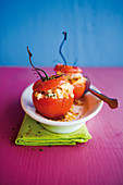 Stuffed couscous tomatoes with goat's cheese