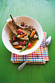 Caribbean vegetable stew with pork chops
