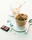 Chocolate dessert with hazelnut brittle