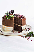 Milk chocolate and beetroot cake with orange ricotta cream